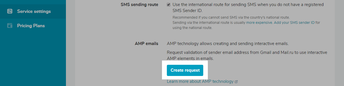 Creating a request for email validation