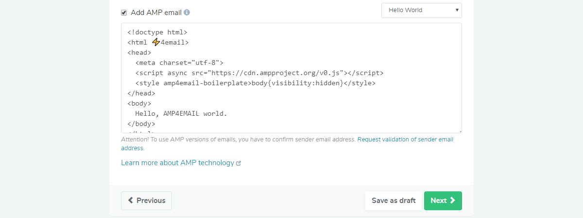 The input field for AMP email code