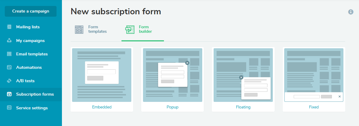 Types of subscription forms