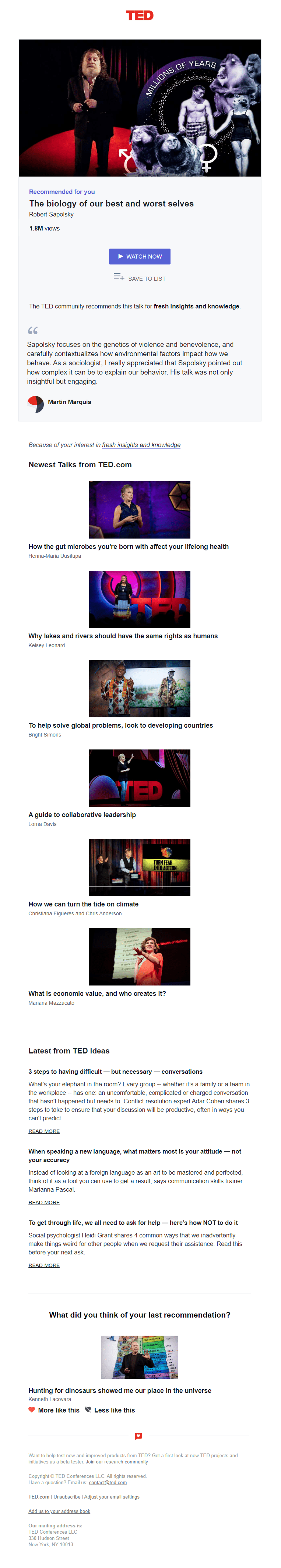 Personalized recommendations from TED