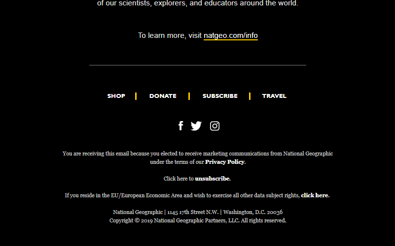 National Geographic unsubscribe link