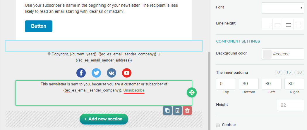 Unsubscribe link in SendPulse email template