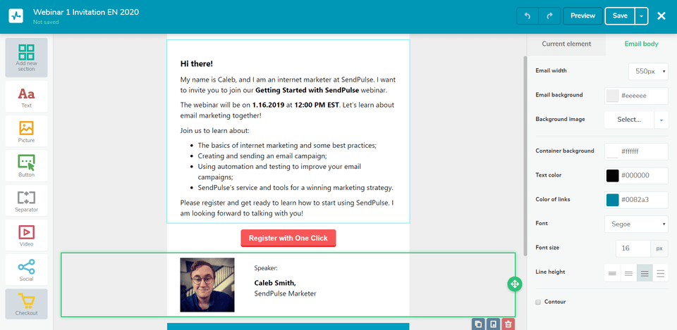 Creating a webinar invitation email with SendPulse
