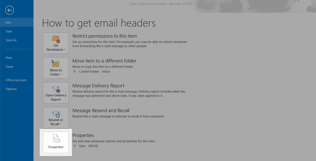How to get email headers in Outlook 2016