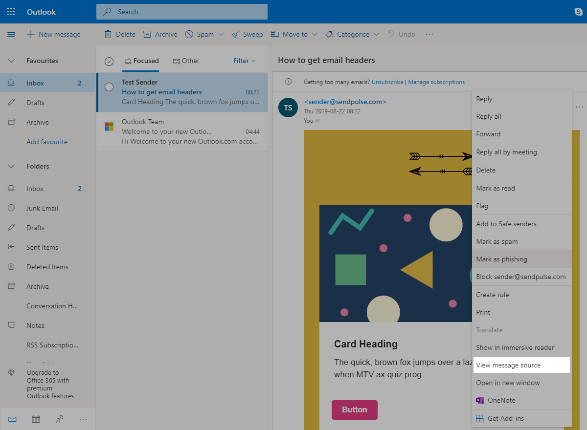 How to get email headers in Outlook
