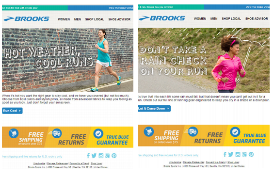 Brooks' dynamic email personalization