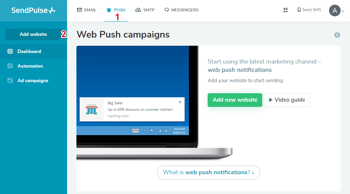 Web push campaigns