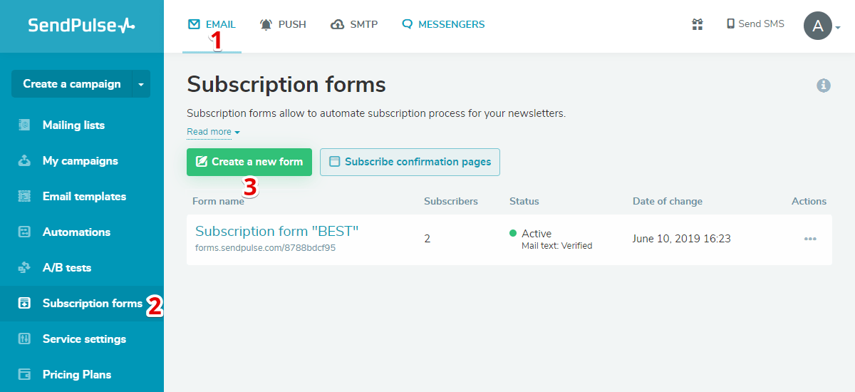 Subscription forms page