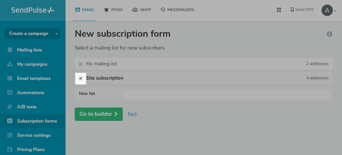 Linking a mailing list to a subscription form