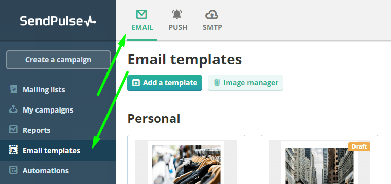Go to email templates