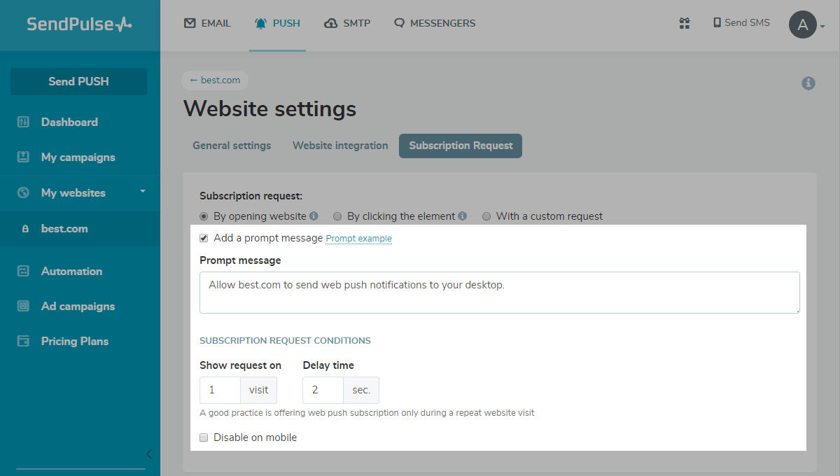 Settings for the subscription request  on opening the website