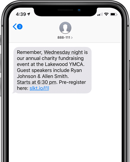 Charity event reminder via SMS