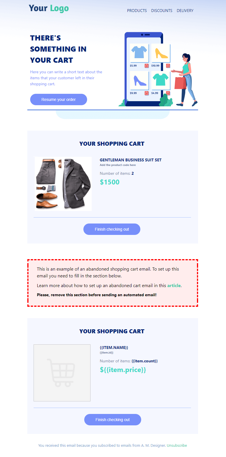 Abandoned cart email free template