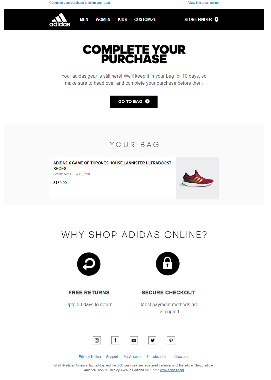 Abandoned cart email from Adidas