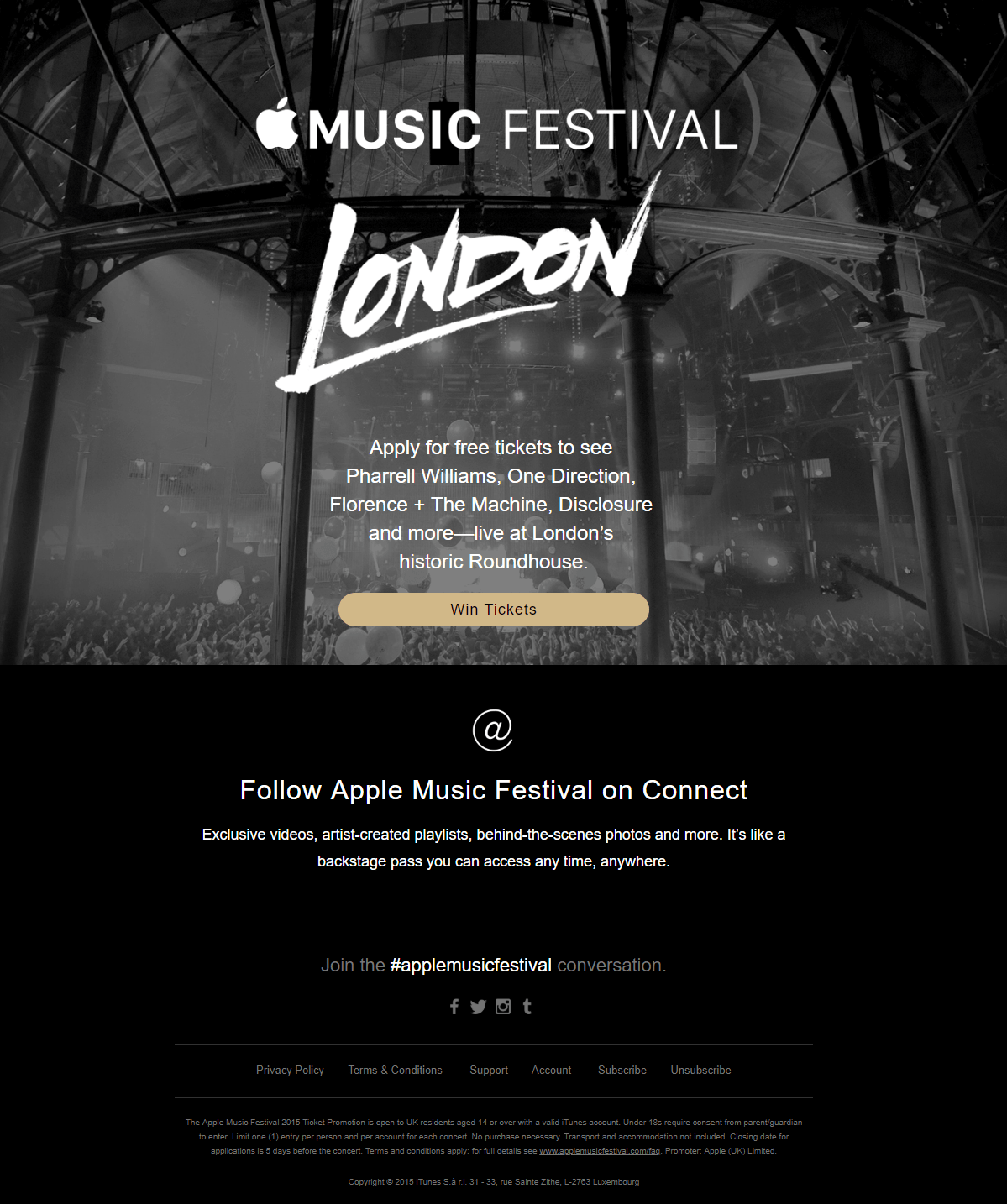 Apple Music Festival giveaway email