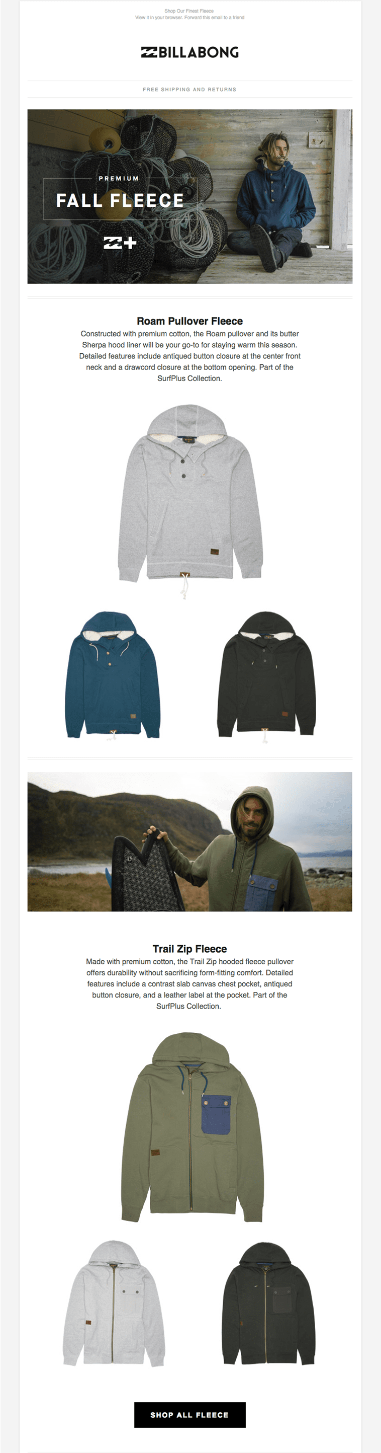 Email from Billabong on a desktop
