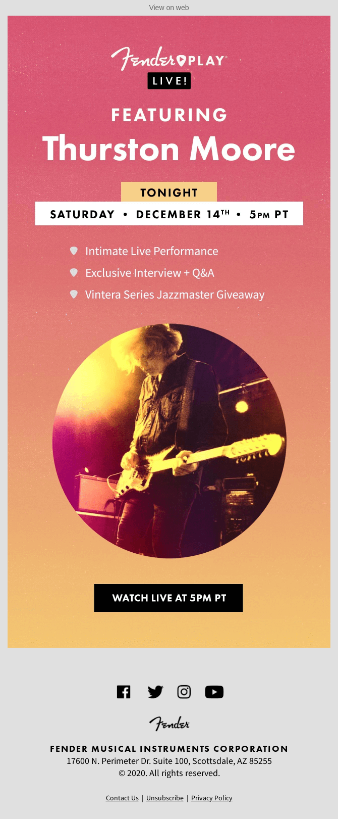 Fender event reminder email