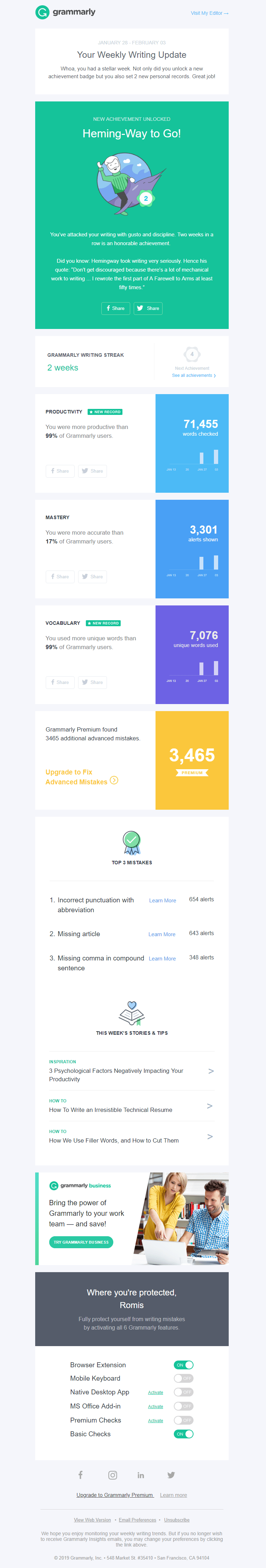 Grammarly personalized progress and upsell