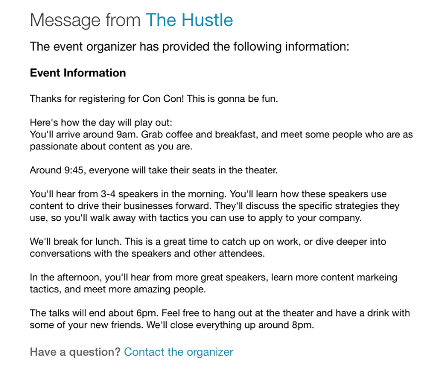 Hustle event reminder with a link to contact organizers