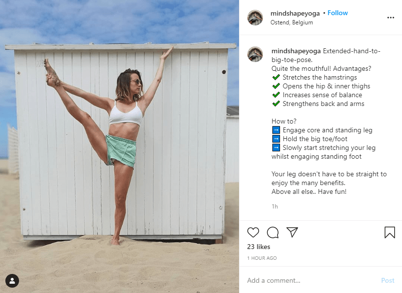 Yoga post on Instagram