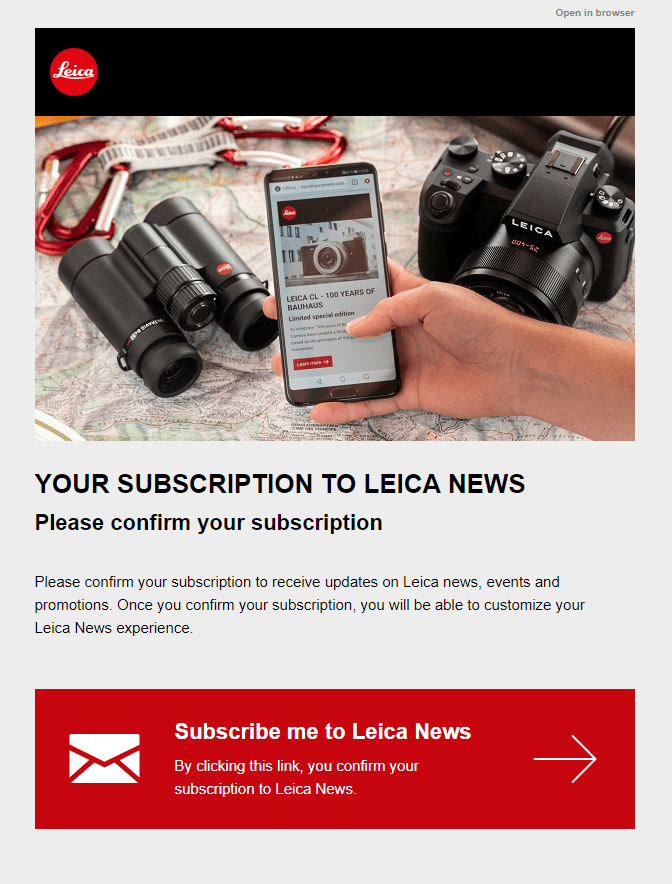Leica subscription confirmation email