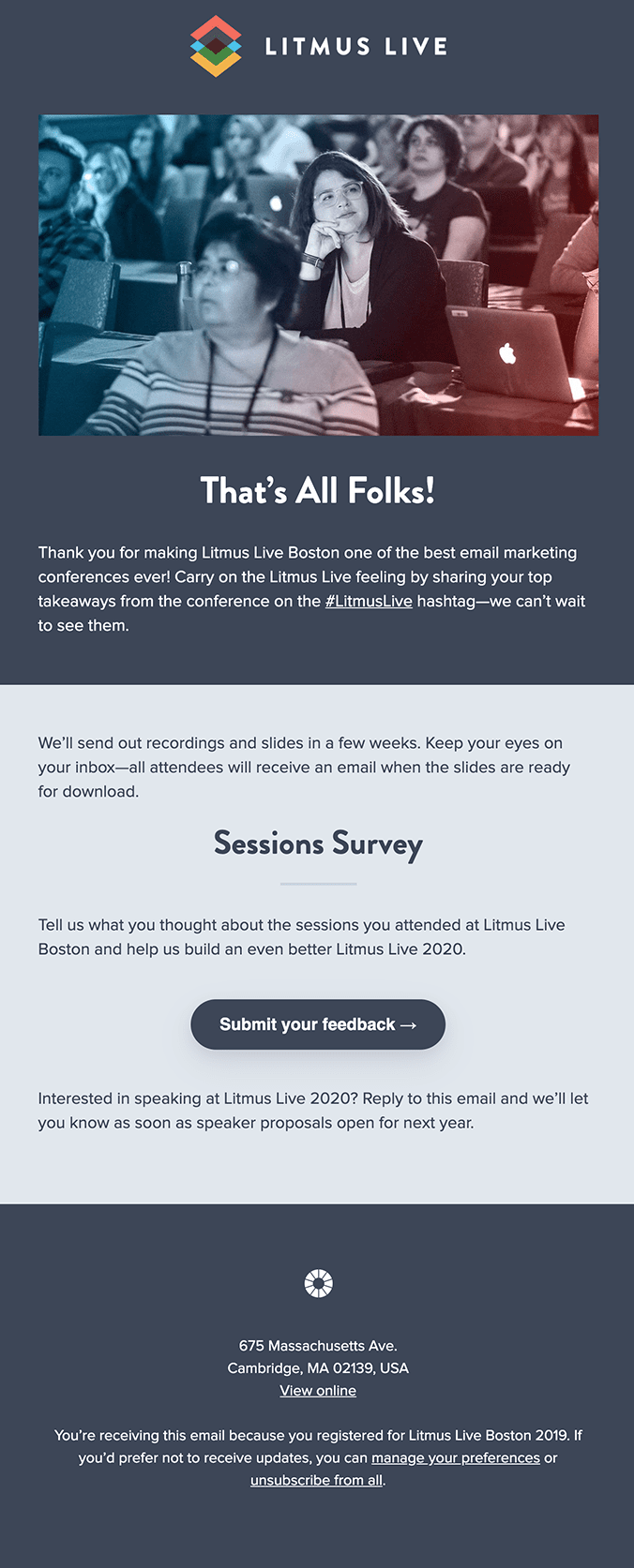 Litmus Live Event Follow-up Email