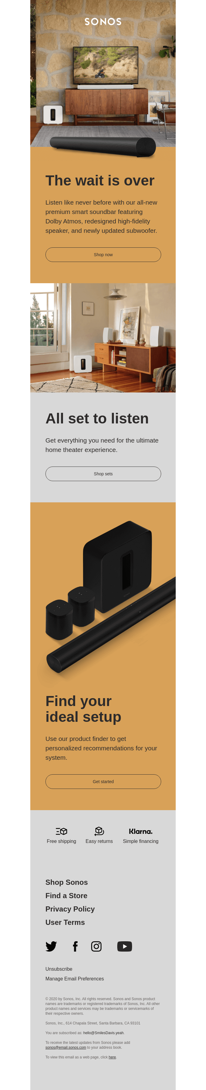 Sonos well-designed email