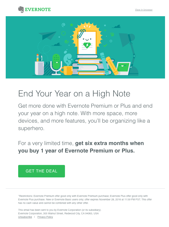 Upselling email based on an upcoming New Year