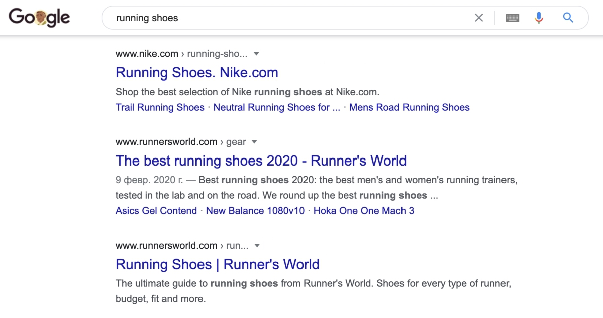 Nike's website in search results