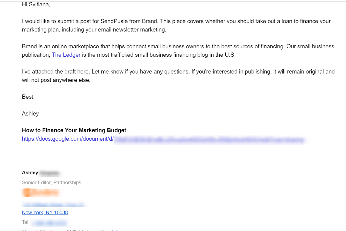 Outreach email with a guest post offer