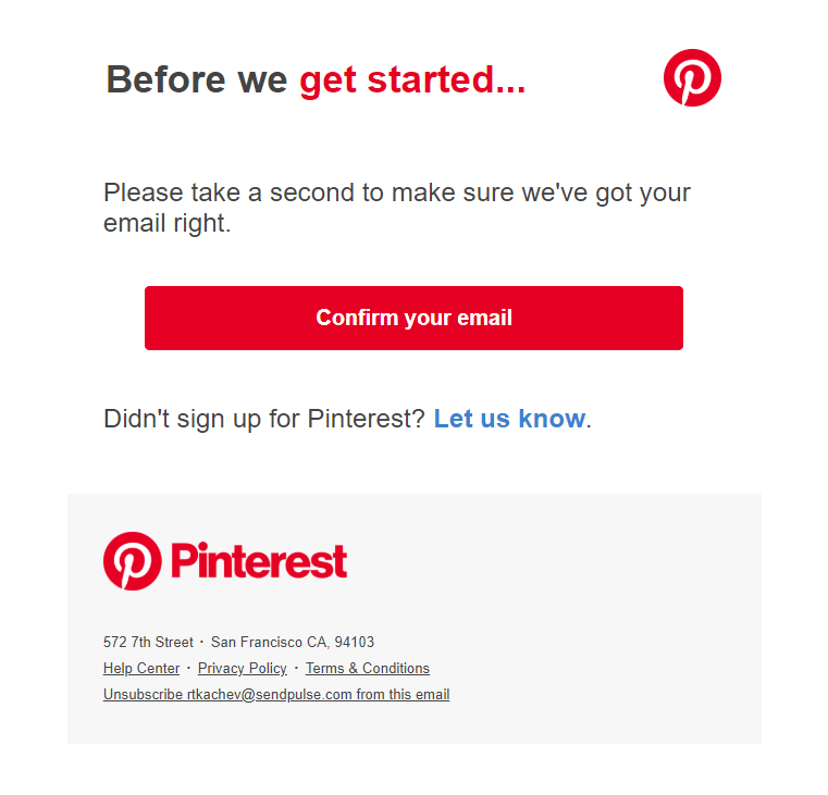 Pintrerest confirmation link