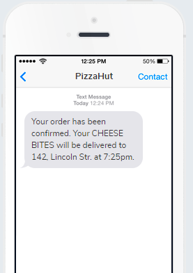 PizzaHut order confirmation SMS