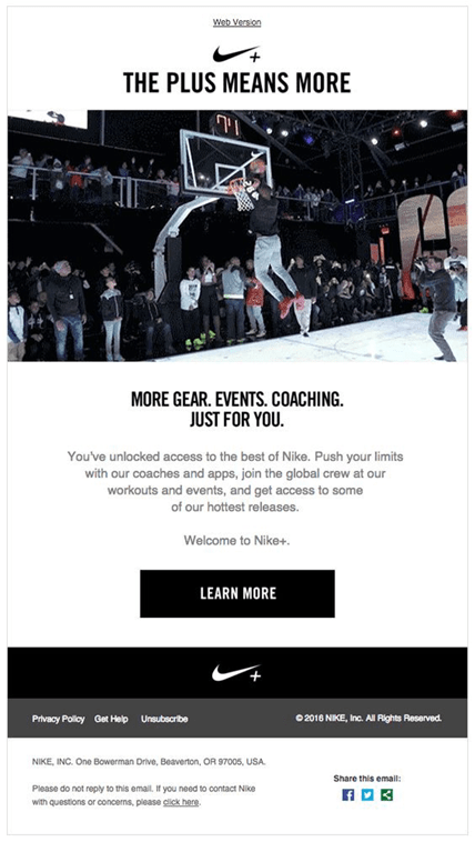 Email from Nike