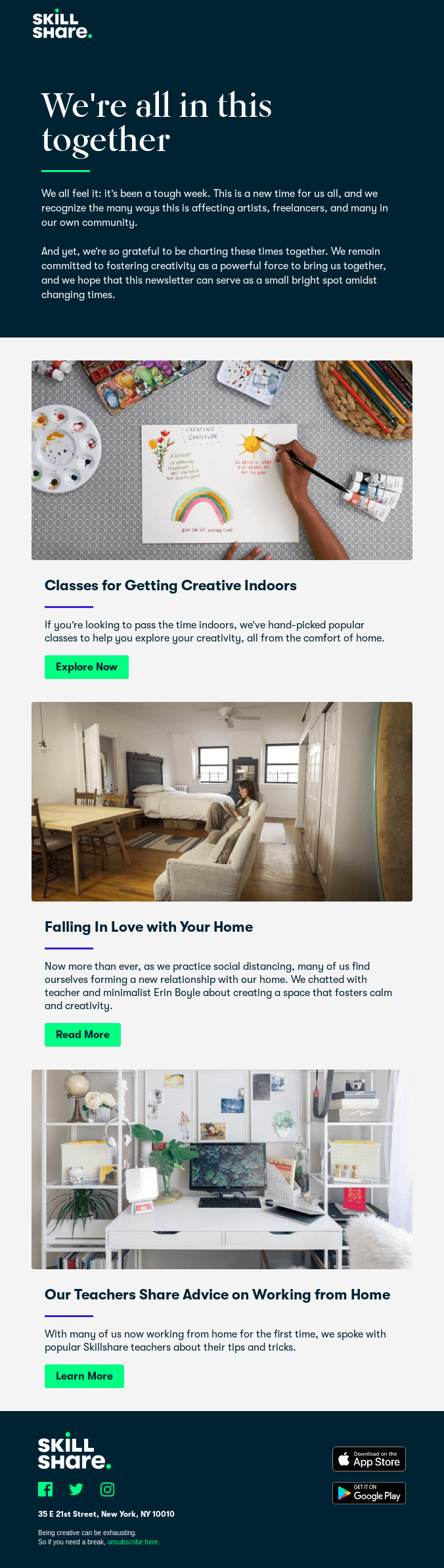 SkillShare curated newsletter