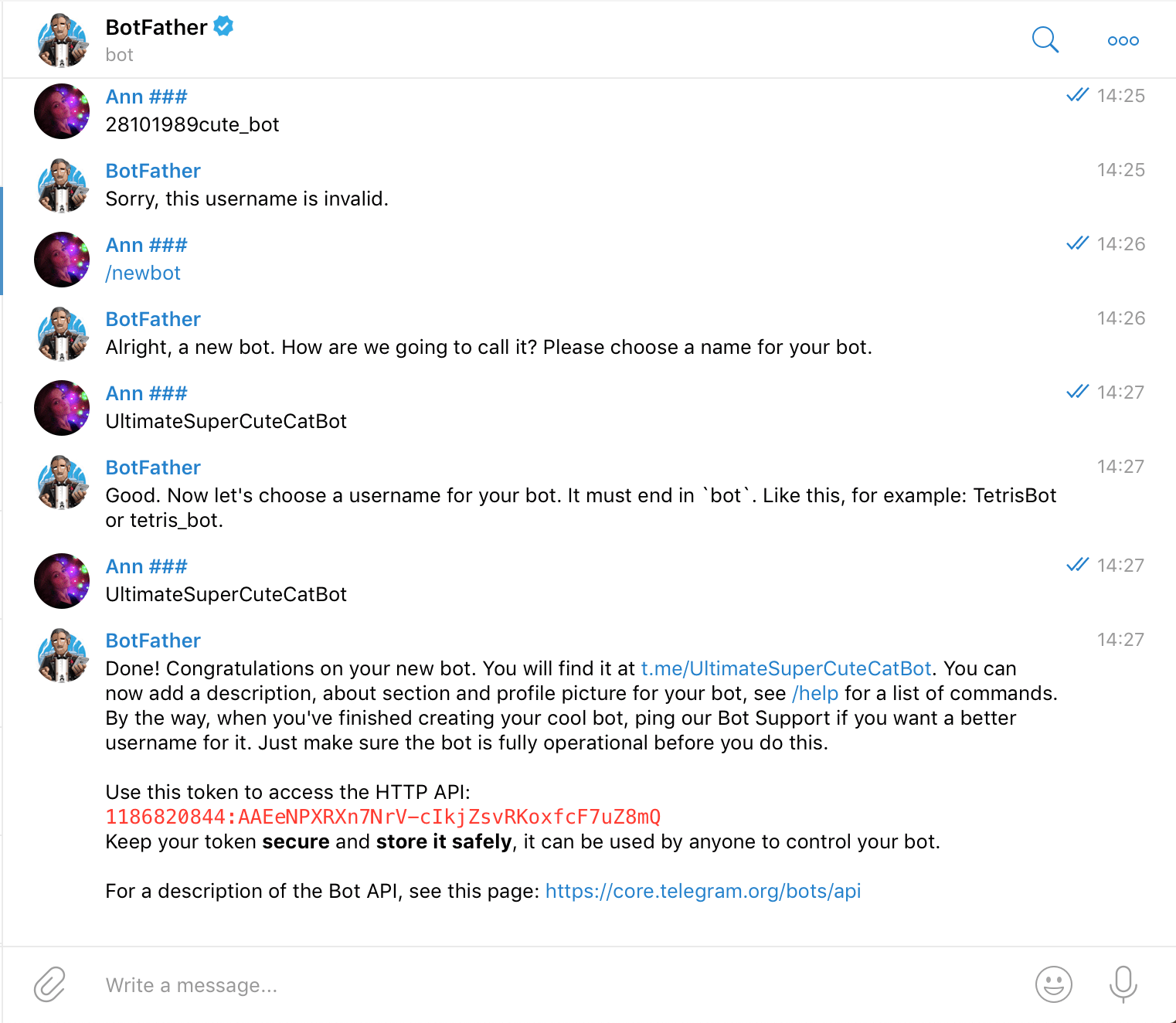 Create a new telegram bot