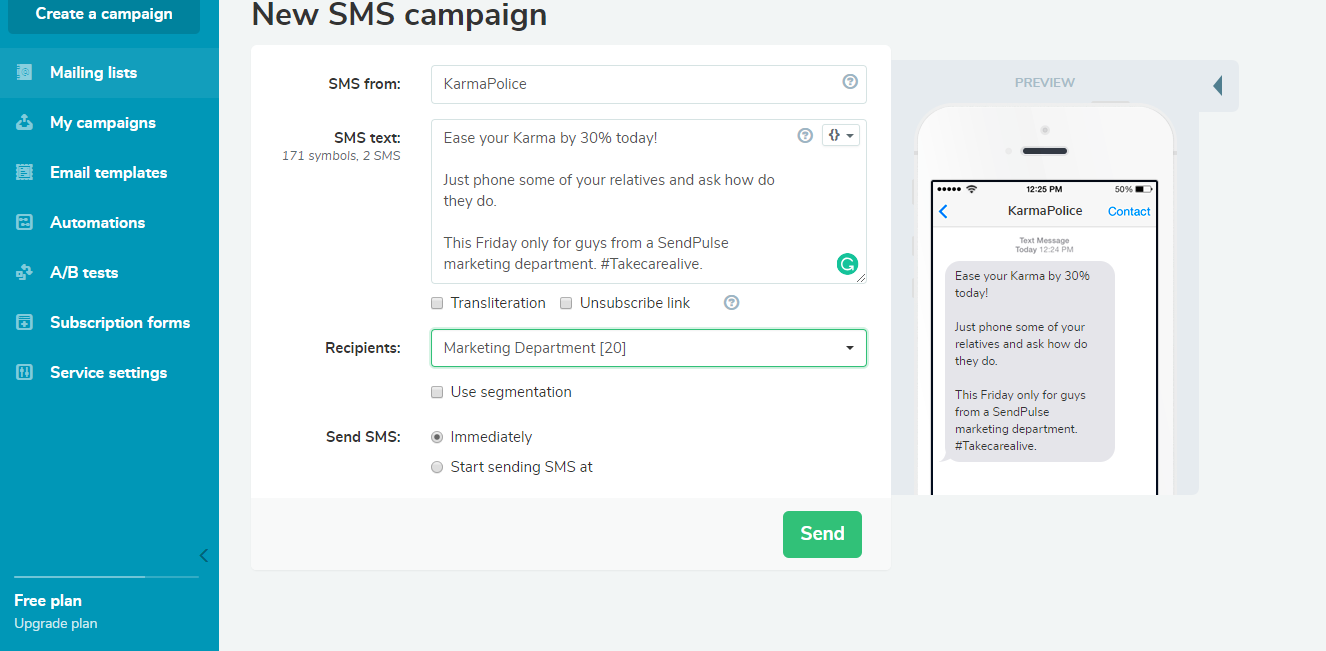 Sending SMS campaign