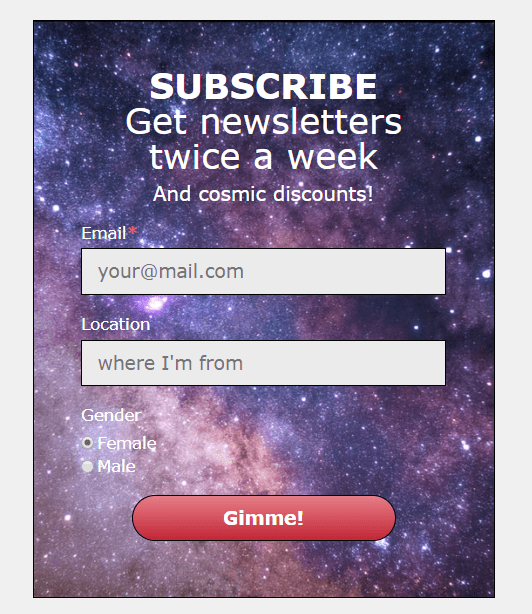 SendPulse's subscription form
