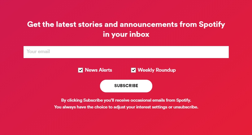 Spotify subscription form