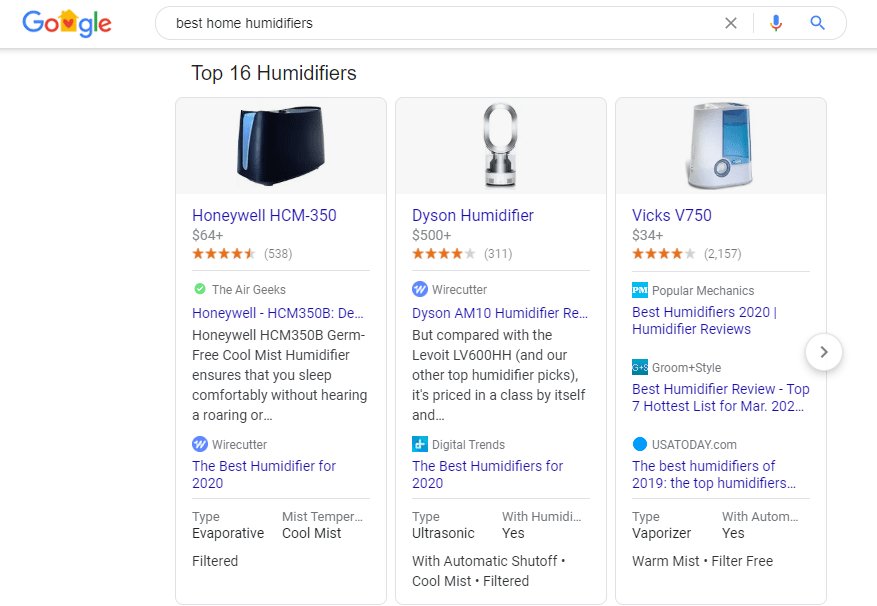 Search results showing top humidifiers