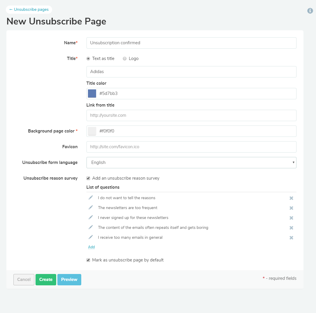 Creating an unsubscribe page with SendPulse