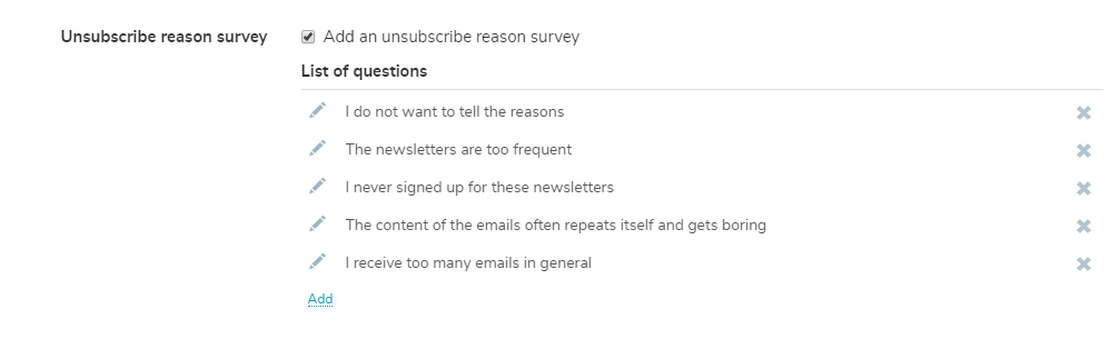 An optional survey with the default questions