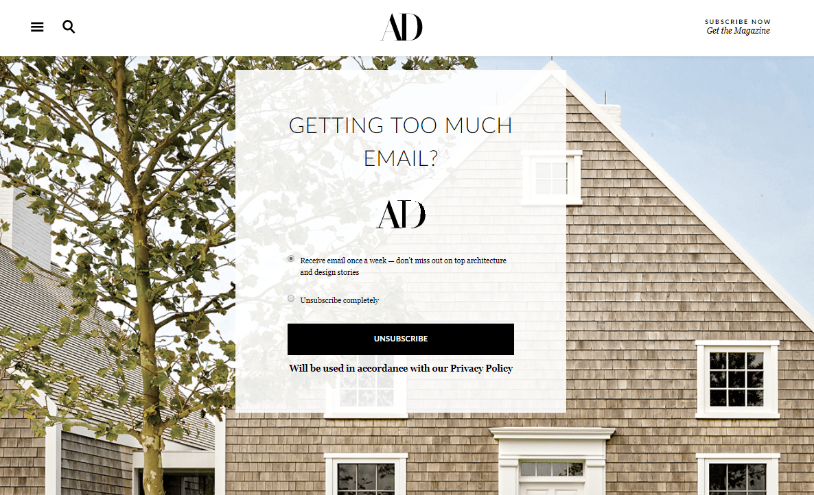 Unsubscribe page by Architectural Digest