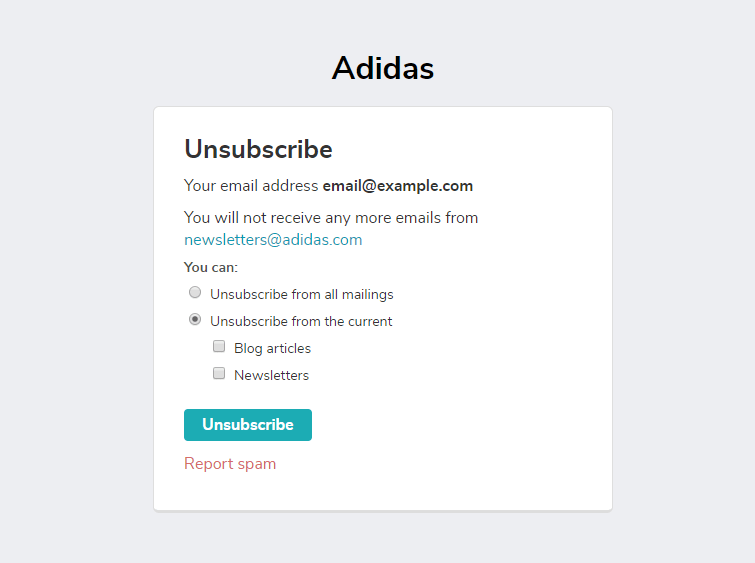 Unsubscribe page created in SendPulse