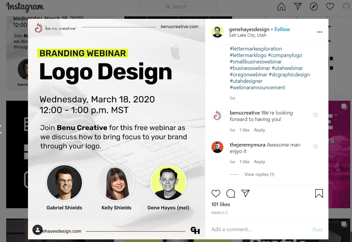 A webinar announcement on Instagram