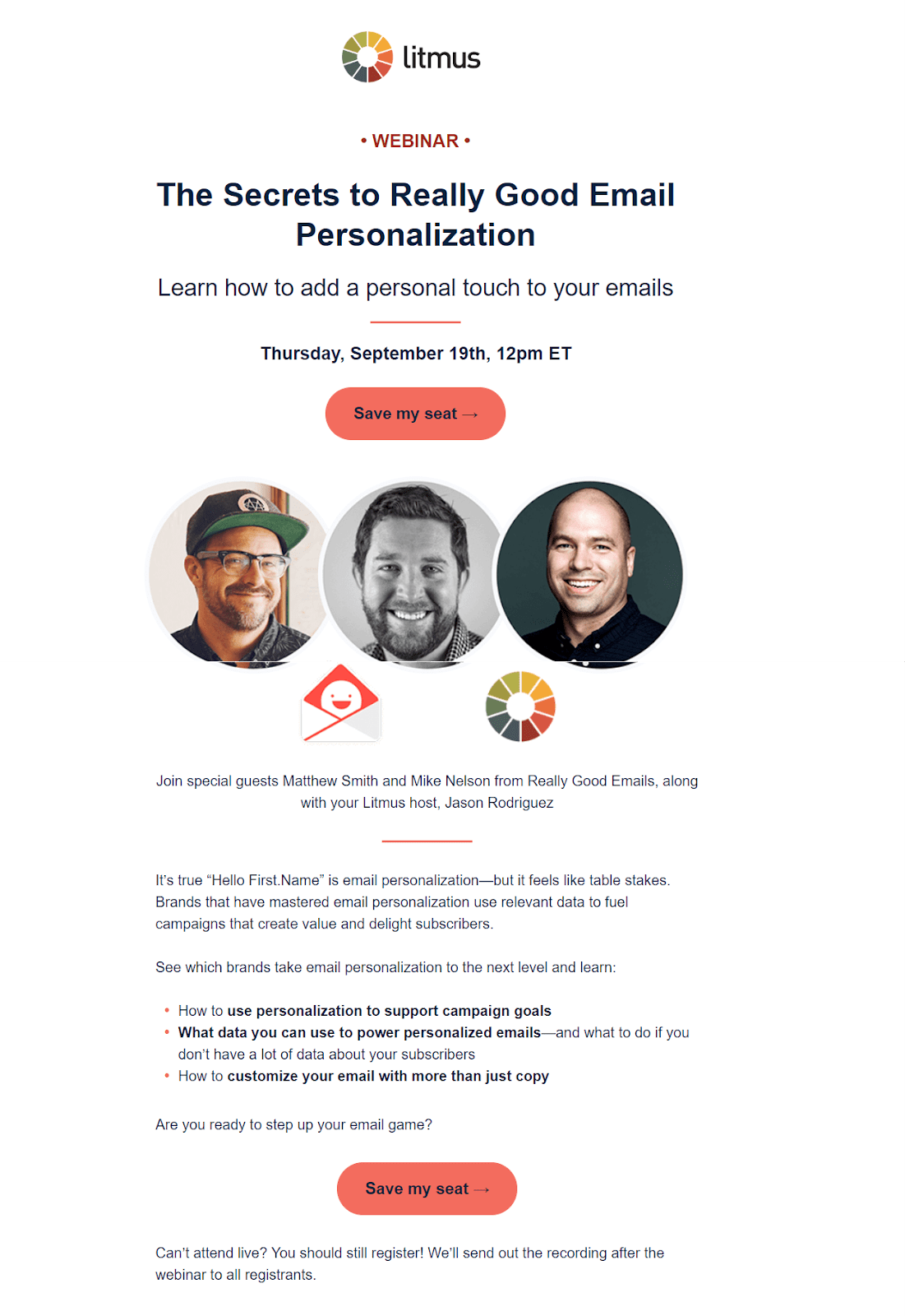 A webinar invitation email sent by Litmus