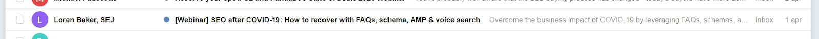 A relevant email subject line