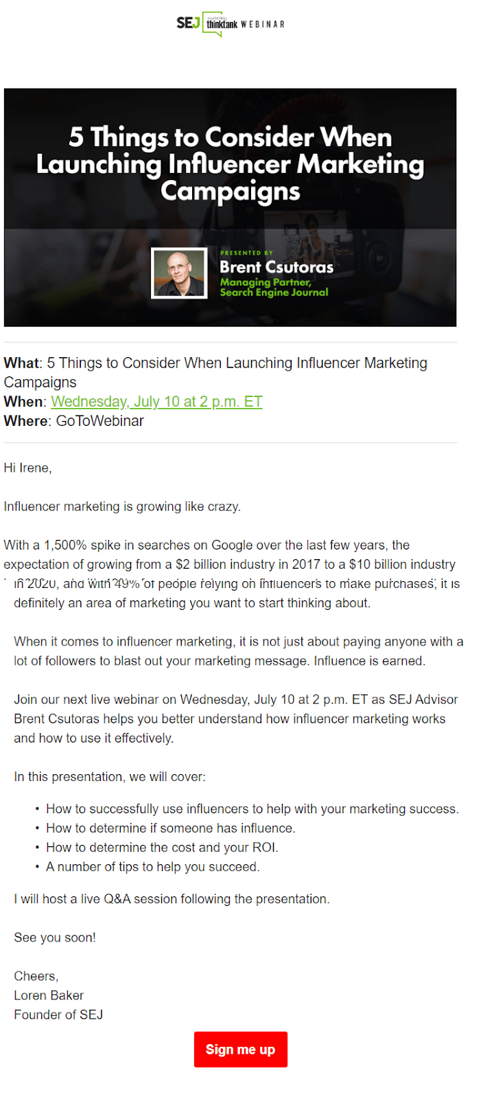 A webinar invitation email sent by SEJ