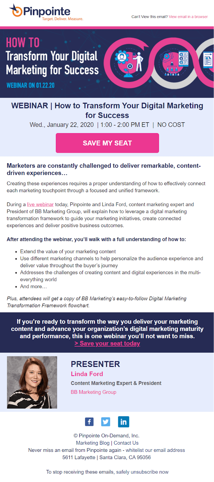 A webinar invitation email sent by PinPointe