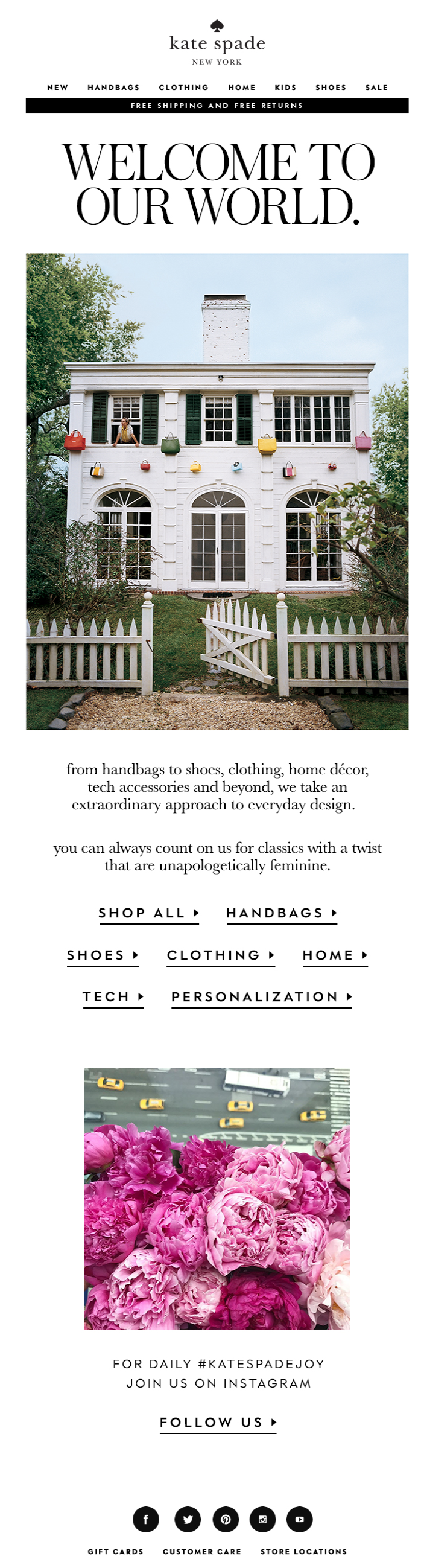 Welcome email by Kate Spade